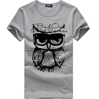 Wholesale owl t - Fashion Short Sleeve Owl Printed Male T Shirts Mens Tee Shirts Tops Cotton Casual Tee