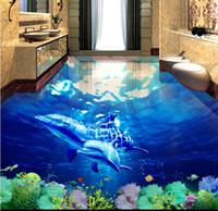 fondo de pantalla bajo el agua para el dormitorio al por mayor-Papel pintado para paredes de dormitorio Ballena Underwater World 3D baño tridimensional pintura de suelo a suelo