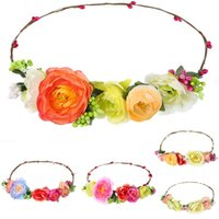 headbands de noiva headbands venda por atacado-Prime camellia headhoop headband da noiva guirlanda de praia guirlanda de praia estilo Europa headpiece acessórios do casamento fotografia acessórios
