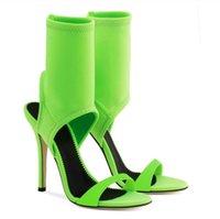 fluoreszierende stoffe großhandel-Sommer Markendesign Knöchel Manschette Sandalen dehnbar Stoff High Heels Frauen fluoreszierende grün schwarz Socken Sandalen