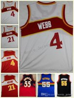 Wholesale white mesh shirt - Men Mesh Basketball Jerseys White Red Spud Webb Uniforms Dominique Wilkins Jersey Dikembe Mutombo High Quality Embroidery Shirts