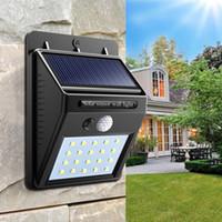 dış duvar lambaları sensörü toptan satış-Açık su geçirmez led güneş işık 20led hareket sensörü kablosuz güneş enerjisi lambası bahçe duvar yard güverte güvenlik gece lambası