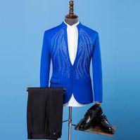 Wholesale Men S Marriage Suits - Blazer men formal dress latest coat pant designs marriage suit men stand collar hot drilling wedding suits for men's blue 2XL