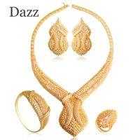 gargantilha venda por atacado-Dazz grandes conjuntos de jóias de casamento de luxo cheio de strass cobre big choker colar brincos anel bangle set mulheres partido bijoux