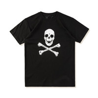 Wholesale V Neck Big Shirt Women - 2018 new Hip Hip High quality fashion men summer Skull Big V print men women short sleeve t-Shirt vlone kanye west Black tees