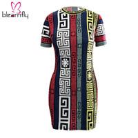 vintage tarzı kılıf elbisesi toptan satış-Vintage Bayanlar Seksi Spor Tribal Baskı O Boyun Kılıf Elbise Bodycon Kısa Kollu Ulusal Stil Tunik Kadın Yaz Vestido