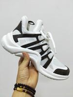 ingrosso merletto nero in su scarpe uomini-Scarpe da uomo Ss18 Rare Archlight Sneakers Nero Bianco Lace Up Parigi Fashion Archlight Scarpe da ginnastica Genuine Leather Ugly Dad Sneakers
