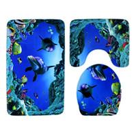 sockel dekorationen großhandel-Hohe Qualität 3 teile / satz Badezimmer Rutschfeste Ozean Stil Sockel Teppich + Deckel Wc Abdeckung + Badematte Blau Badezimmer Dekoration Geschenke 37 arten