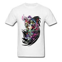 mann mädchen sex großhandel-Schöne Karneval Mädchen Gedruckt Auf T-shirt Männer Sex Herrenmode Aquarell Farbe T Shirts Schwarz T-Shirt Für Männer Sexy Pin Up
