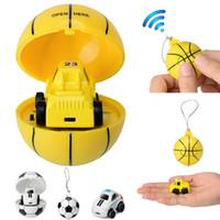 Wholesale mini car control online - 2 G Mini RC Car Football Basketball Soccer Remote Control Car Model Toys for Children Cartoon Novelty Items OOA5484