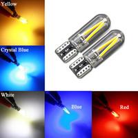 cristal nuevo cristal blanco al por mayor-W5W llevó el bulbo T10 LED drl luz interior del coche SMD 194 168 COB vidrio luz auto filamento 12V rojo blanco amarillo azul cristal Nuevo