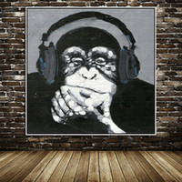 Wholesale Modern Music Oil Painting - 100% Unframed Large Wall Mural Picture Decoration Modern Animal Art Funny Monkey Listening to Music Oil Painting on Canvas