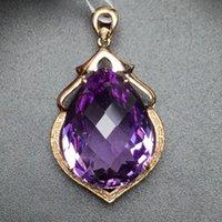jóias de pedras preciosas venda por atacado-Fine Jewelry Personalizado Coleção Real 18 K Rose Gold 100% Natural Ametista Gemstone Pingente de Colar