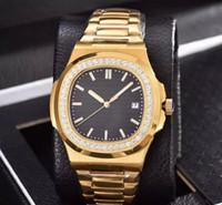 altınlar erkekleri izliyor toptan satış-Lüks Saatı Erkek Izle erkek Elmas Altın İzle Yüksek Kalite Otomatik Mekanik Paslanmaz Çelik Kayış Nautilus Erkekler Saatler