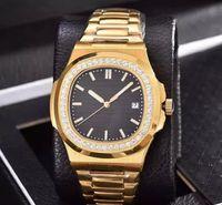 diamant-uhrenarmbänder großhandel-Luxus Armbanduhren Herrenuhr Herren Diamant Gold Uhr Hochwertige automatische mechanische Edelstahlarmband Nautilus Herrenuhren