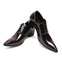 ingrosso oxford scarpe da lavoro-Mens Dress Shoes High Heels Leather Scarpe da sposa Mens Formal Business Oxfords Scarpe da lavoro