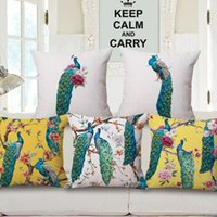 Wholesale peacock chinese paintings for sale - Group buy Hand Painting Peacock Bird Cushion Covers Chinese Traditional Birds And Flowers Tree Art Cushion Cover Decorative Linen Cotton Pillow Case