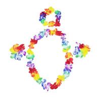 halskette kopfstück großhandel-4 teile / satz Hawaii Blume Festival Luau Beach Party Girlande Halskette Stirnband Kopfschmuck Armband Armreif Set QW8637