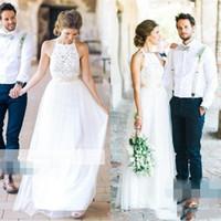 Wholesale elegant halter lace wedding dress online - 2018 Elegant A line Lace Wedding Dresses Appliques Sheer Crew Neck Lace Bridal Gowns Plus Size Vestios De Novia Floor Length Wedding Gowns