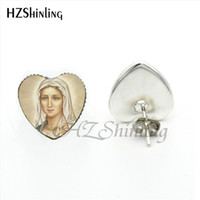 Wholesale mary arts resale online - New Arrival Blessed Virgin Mary Stud Earrings Handmade Art Photo Glass Dome Mother of Baby Heart Shaped Earring