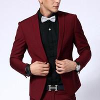koyu kırmızı pantolon erkekler toptan satış-Iki Parçalı Koyu Kırmızı Akşam Parti Erkekler Suits 2018 Doruğa Yaka Blazer Trim Fit Custom Made Düğün Damat Smokin Ceket Pantolon