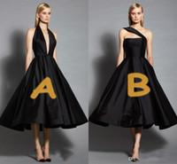 bir omuz küçük siyah elbiseler toptan satış-Seksi Moda V Boyun Ve Bir Omuz Iki Stil Seksi abiye A Hattı Çay Boyu Küçük Siyah Elbiseler Basit Uzun Gelinlik Modelleri