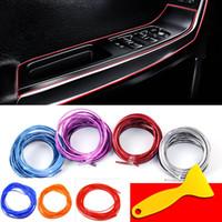 krom kaplama şeritleri toptan satış-5 m / paket Araba Iç Dekoratif 3D Oto Marka Konu Etiketler Çıkartmaları Krom Styling Trim Şerit Araba-Styling Dekorasyon HH7-1244
