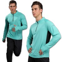 lang laufende hemden groihandel-Gym Long Sleeve Herren Quick Dry Lauf Langarm-Shirt Jogging Fitness Training Bike Radtrikot Outdoor T-Shirt Männer Sport