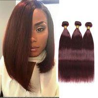 Wholesale cheap red hair extensions - Burgundy 99J Virgin Human Hair Mink Brazilian Straight Bundles 3pcs Straight Hair Weaves Wine Red Unprocessed Cheap Hair Extensions Straight
