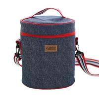 sacos de gelo isolados venda por atacado-Nova Rodada Lunch Bags Bebida Térmica Ice Cooler Cilíndrico Família Piquenique Bento Box Isolados Pacote Bolsa Lazer Acessórios