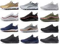Wholesale Drop Shipping Bullet - Drop Shipping 97 OG Bullet Running Shoes 2018 For Men Casual Sneakers Women Air Cushion Sports Shoes Undefeated Athletic Sneakers 36-46