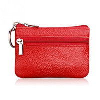 Wholesale Wholesale Leather Small Coin Pouches - Wholesale- New Unisex Ladies Men Leather Small Coin Card Key Ring Wallet Pouch Purse Mini Wallet