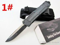 Wholesale flashlight knives - HIght Recommend scarab 10 models dual action Hunting Folding Pocket Knife Survival Knife self defense automatic knife flashlight