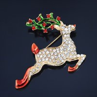 Wholesale china deer - High Quality Stunning Austria Diamante Christmas Deer Brooch Pins Detailed Crystals Deer Brooch For Gift Hot Selling
