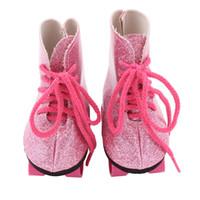 amerikanische puppenschuhe 18 großhandel-18 Zoll Puppe Schuhe Glitter Puppe Roller Skates für 18 Zoll unsere Generation American Girl Zubehör