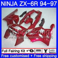 verkleidung zx6r 95 rot großhandel-Bodys für KAWASAKI NINJA ZX 636 600CC ZX 6R 1994 1995 1996 213HM.37 ZX600 ZX636 ZX-6R 94 97 ZX6R 94 95 96 97 ALLE Pearl Red neue Verkleidung