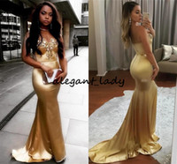 Wholesale gold little heart for sale - Group buy 2018 Gold Africa Mermaid Prom Dress Sweet Heart Backless Sweep Train Appliques Crystal Beaded Long Black Girl Evening Party Gowns Cheap