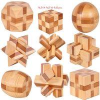 ingrosso giocattoli di legno adulti-IQ Rompicapo Kong Ming Lock 3D Legno Interlocking Burr Puzzle Gioco Giocattolo Per Adulti Bambini OOA3961