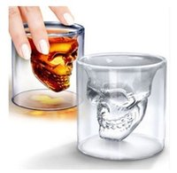 Wholesale Crystal Glass Tiles Wholesale - Fashion Skull Head Shot Glass Fun Creative Designer Crystal Party Vodka Wine Cup Gifts 25ML (Color: Transparent)