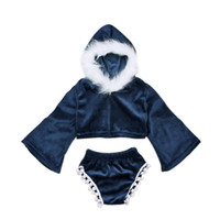 Wholesale Mandarin For Kids - Girls fashion velvet outfits 2pc sets fake fur décor Short hoody+pompon shorts mandarin sleeve outfits for kids photo costume performance