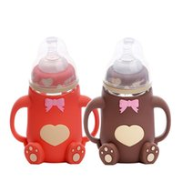 markalar bebek şişeleri toptan satış-Marka Bebek Besleme Şişe Karikatür Kapaksız Bebek Camı ile Unbreakable Cam Şişe Hemşirelik Penguen Şekil Anti-haşlanma Eğitim