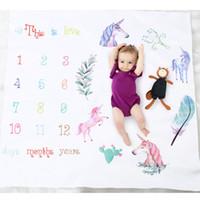 fotos de amor do bebê venda por atacado-Cobertor De Bebê Unicórnio Fotografia Recém-nascido Mat Números Isto é Amor Fotos Acessórios 2018 Lovely Boutique store supplies
