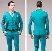 ingrosso cravatta di nozze turchese-Smoking turchese a tre pezzi Smoking One Button Center Vent vestito da uomo da uomo Business Dinner Prom Blazer (giacca + pantaloni + cravatta + gilet) 400