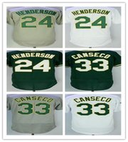 Wholesale Anti Finger - Men's Oakland jersey 24 Ricky Henderson #33 Jose Canseco Rollie Fingers baseball jersey