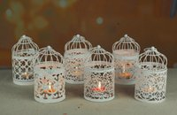 eski metal dekor toptan satış-Yaratıcı candelabros Hollow Asılı Kuş Kafesi Mumluk Şamdan Fener Gelin Dekor Vintage Şamdanlar Ev Dekor