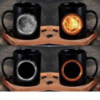 Wholesale heat color change mugs resale online - Fashion Coffee Tumbler Creative Solar Eclipse Heat Changing Ceramic Mug Water Cup Novelty Gift Hot Sale jk C