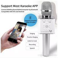 mikrofon karaoke android toptan satış-IYI Sihirli Q9 Bluetooth Kablosuz Mikrofon El Mikrofono KTV Ile Hoparlör Için Mic Hoparlör Karaoke Q7 Yükseltme android telefon