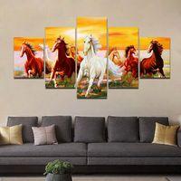 arte caballos pintura al óleo al por mayor-Cuadro de la pared decoración para el hogar 5 unidades caballo corriendo impresión pintura al óleo pintura de la lona arte de la pared 5 panel lienzo pintura