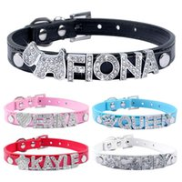Wholesale free dog names - 5 Colors Plain Leather Personalized Pet Dog Collars DIY Cat Names Pet with Free Name and Charm