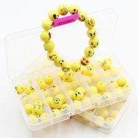 Wholesale kids beads bracelet - DIY beaded jewelry sided acrylic emoji bead bracelet smiley face wristband emoji bead necklace kids gift free shipping